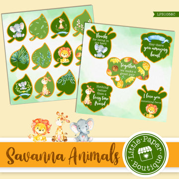 Savannah Animals Watercolor Ephemera Tags Digital Paper LPB1058C
