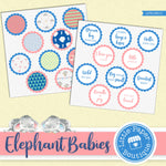 Elephant Babies Watercolor Ephemera Tags Digital Paper LPB1061C