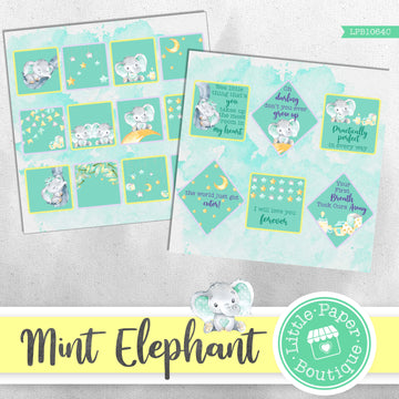 Mint Elephant Watercolor Ephemera Tags Digital Paper LPB1064C
