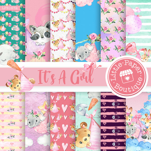 It's A Girl Digital Paper LPB1072