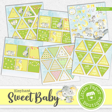 Sweet Baby Watercolor Ephemera Tags Digital Paper LPB3000C