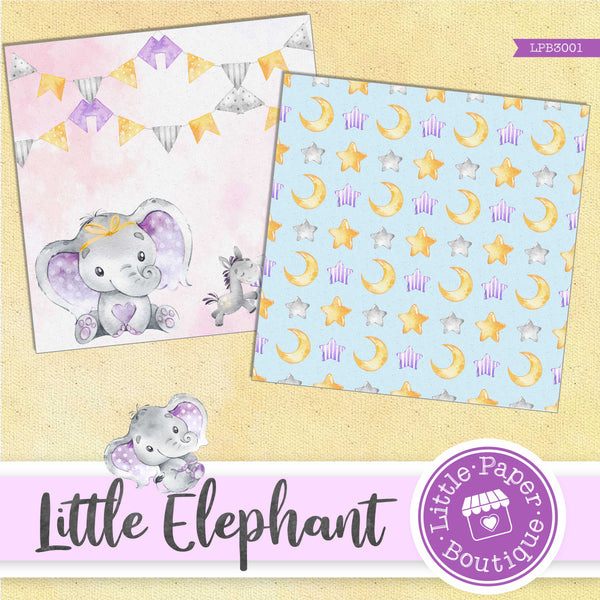 Little Baby Purple Elephant Digital Paper LPB3001A