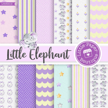 Little Baby Purple Elephant Digital Paper LPB3001B