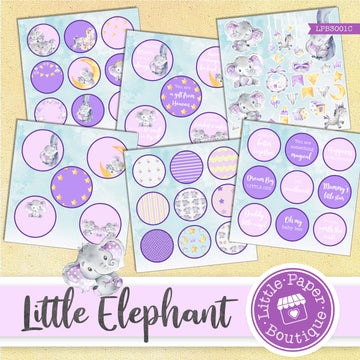 Little Baby Purple Elephant Watercolor Ephemera Tags Digital Paper LPB3001C