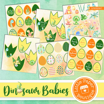 Dinosaur Babies Watercolor Ephemera Tags Digital Paper LPB3002C