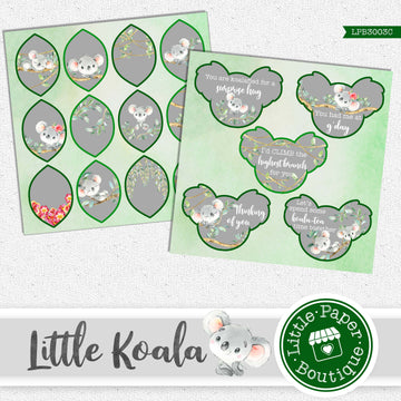 Little Koala Watercolor Ephemera Tags Digital Paper LPB3003C