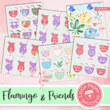 Flamingo & Friends Watercolor Ephemera Tags Digital Paper LPB3005C