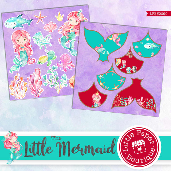 The Little Mermaid Watercolor Ephemera Tags Digital Paper LPB3009C