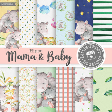 Hippo Mama & Baby Digital Paper LPB3010A
