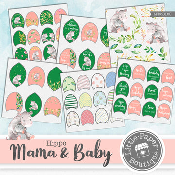 Hippo Mama & Baby Watercolor Ephemera Tags Digital Paper LPB3010C