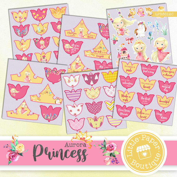 Princess Aurora Watercolor Ephemera Tags Digital Paper LPB3012C