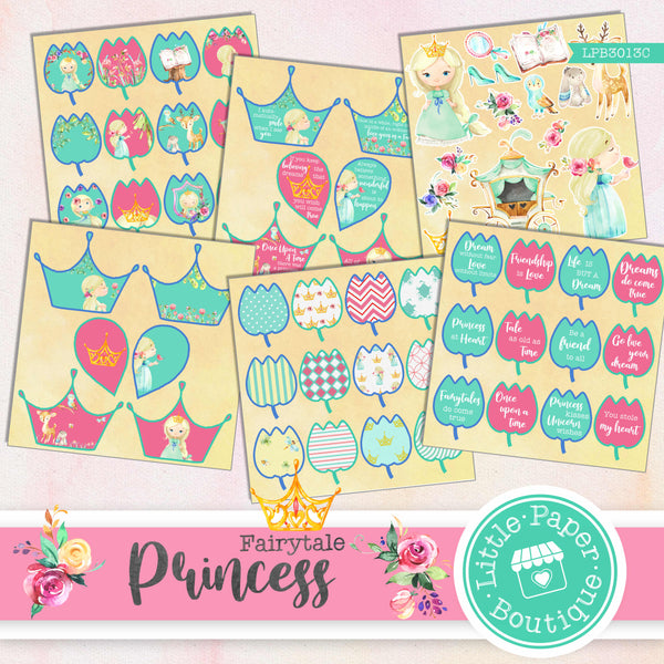 Fairytale Princess Watercolor Ephemera Tags Digital Paper LPB3013C
