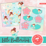 Little Ballerinas Watercolor Ephemera Tags Digital Paper LPB3015C