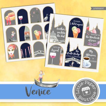 Venice Watercolor Ephemera Tags Digital Paper LPB3020C