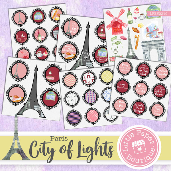 City of Lights Watercolor Ephemera Tags Digital Paper LPB3021C