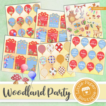 Woodland Party Watercolor Ephemera Tags Digital Paper LPB3022C