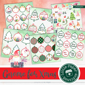 Christmas Gnomes Watercolor Ephemera Tags Digital Paper LPB3023C