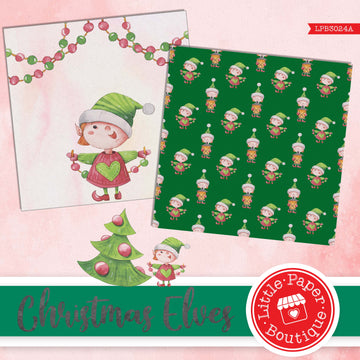 Christmas Elves Watercolor Digital Paper LPB3024A