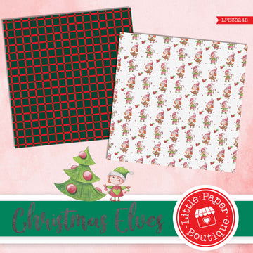 Christmas Elves Watercolor Digital Paper LPB3024B