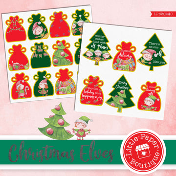 Christmas Elves Watercolor Ephemera Tags Digital Paper LPB3024C