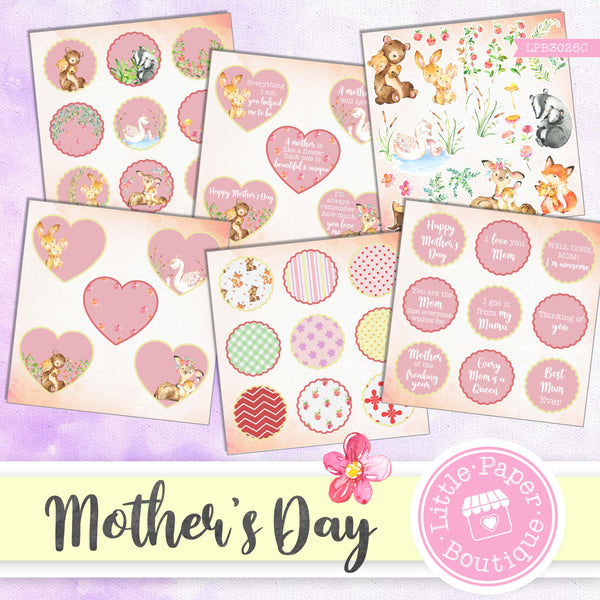Mother's Day Watercolor Ephemera Tags Digital Paper LPB3026C