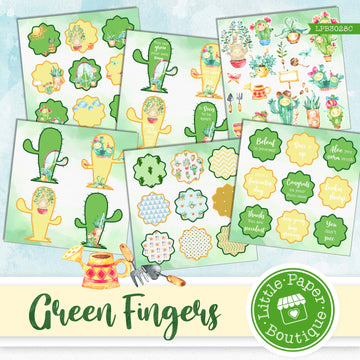 Green Fingers Watercolor Ephemera Tags Digital Paper LPB3028C