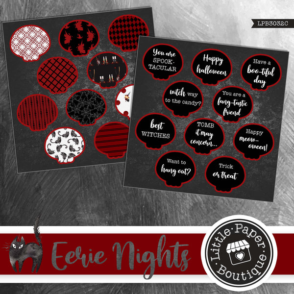 Eerie Nights Watercolor Ephemera Tags Digital Paper LPB3032C