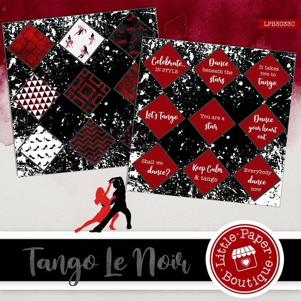 Tango Le Noir Watercolor Ephemera Tags Digital Paper LPB3033C