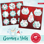 Gnomes and Yetis Watercolor Ephemera Tags Digital Paper LPB3041C