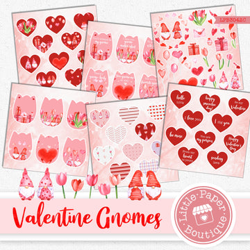 Valentine Gnomes Ephemera Tags Digital Paper LPB3042C