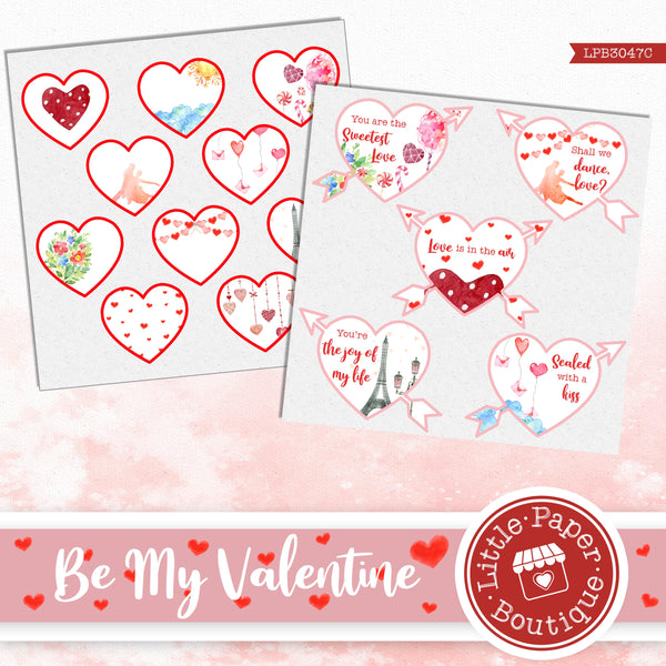 Be My Valentine Watercolor Ephemera Tags Digital Paper LPB3047C