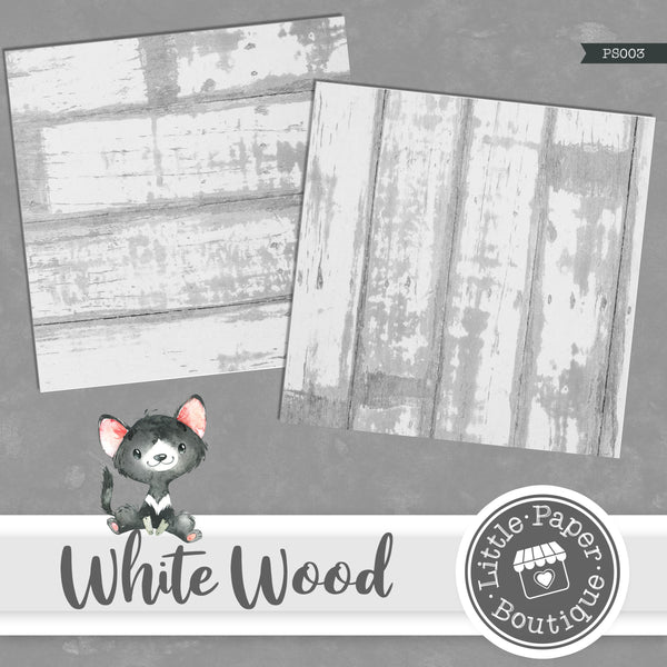 Rustic White Wood Digital Paper PS003