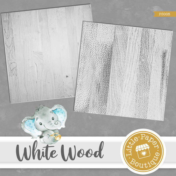 White Wood Background Digital Paper PS005