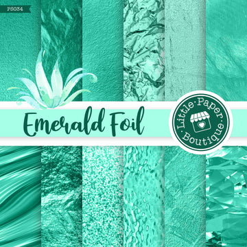 Emerald Foil Digital Paper PS034
