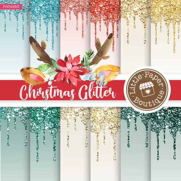 Christmas Dripping Glitter Digital Paper PS049B3