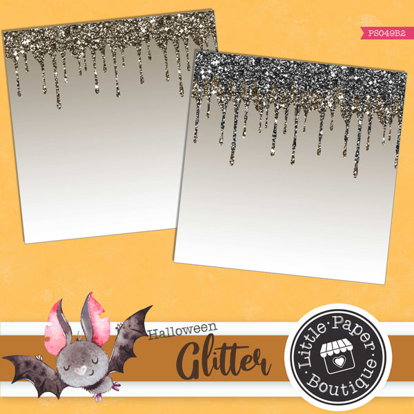 Witchy Halloween Dripping Glitter Digital Paper PS049B2