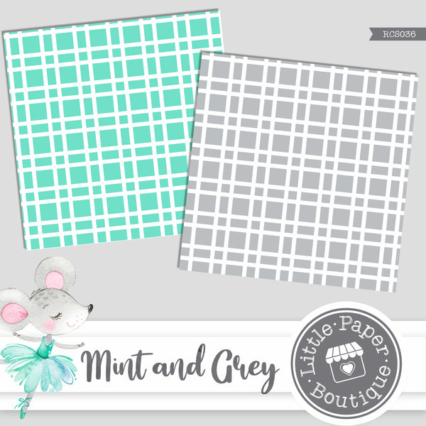 Mint and Grey Digital Paper RCS036