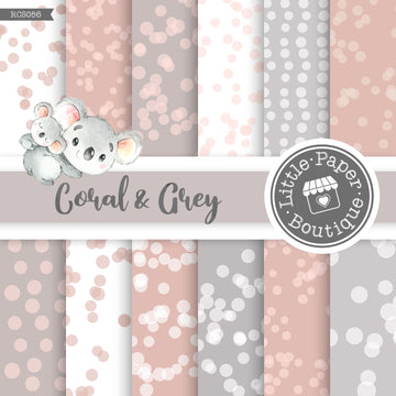 Coral and Grey Digital Paper RCS056