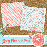 Tiffany Blue and Pink Digital Paper RCS103