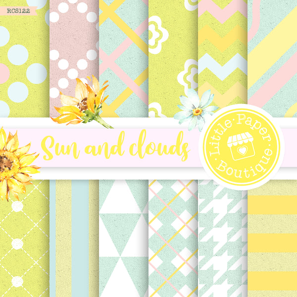 Sun and Clouds Digital Paper RCS122