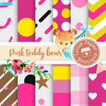 Pink Teddy Bear Digital Paper RCS128