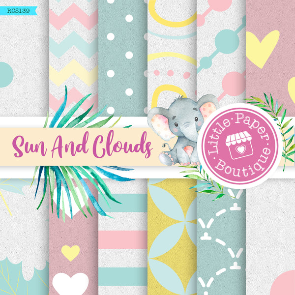 Sun and Clouds Digital Paper RCS139