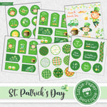 St Patrick's Day Watercolor Ephemera Tags Digital Paper LPB022C