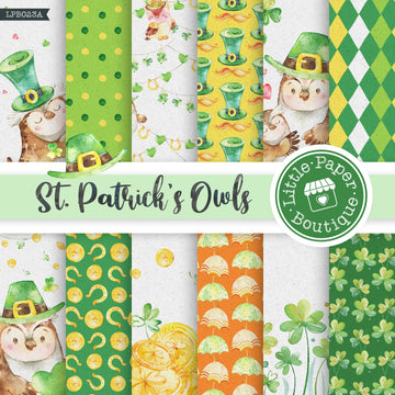 St Patrick's Day Owls Watercolor Digital Paper LPB023A
