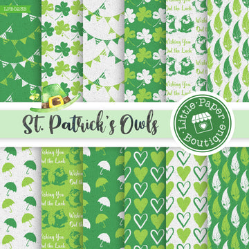 St Patrick's Day Owls Watercolor Digital Paper LPB023B