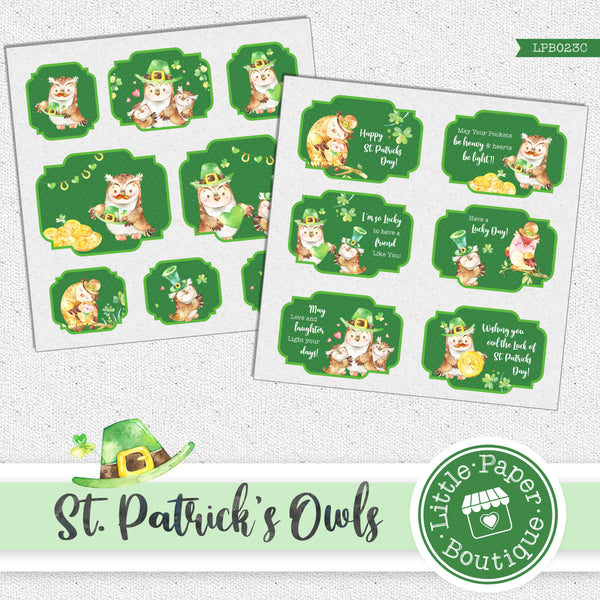 St Patrick's Day Owls Watercolor Ephemera Tags Digital Paper LPB023C