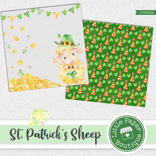 St Patrick's Day Sheep Watercolor Digital Paper LPB024A