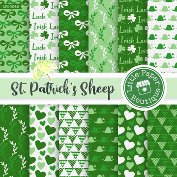 St Patrick's Day Sheep Watercolor Digital Paper LPB024B