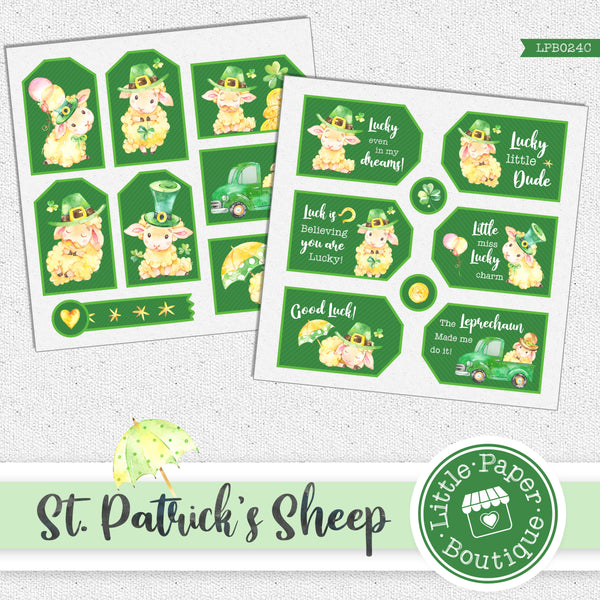 St Patrick's Day Sheep Watercolor Ephemera Tags Digital Paper LPB024C