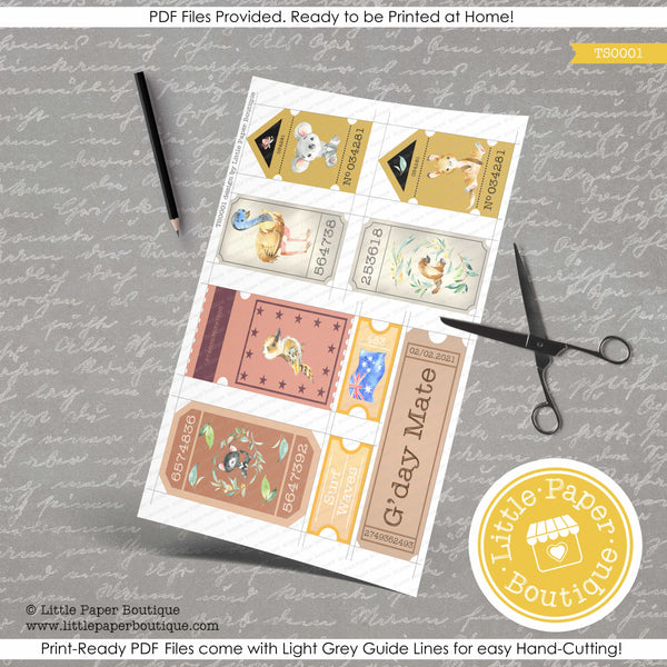Australian Printable Collage Ticket Series TS0001